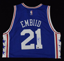 Joel Embiid Signed 76ers Adidas Jersey (L)