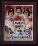 "Mike Schmidt, Steve Carlton, and Pete Rose Signed 16""x20"" World Champs Image (framed)"