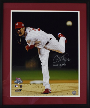 Cole%20Hamels%20Signed%2016%22x20%22%20Photograph%20Inscribed%20%222008%20WS%20MVP%22%20%28framed%29